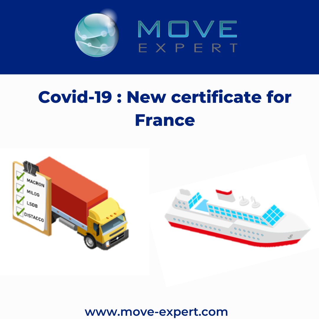 Covid-19 : Travel certificate for France